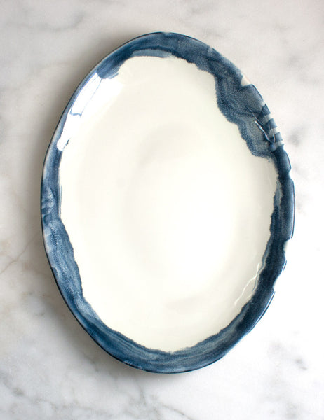 Oval Serving Platter with Navy Washed Rim