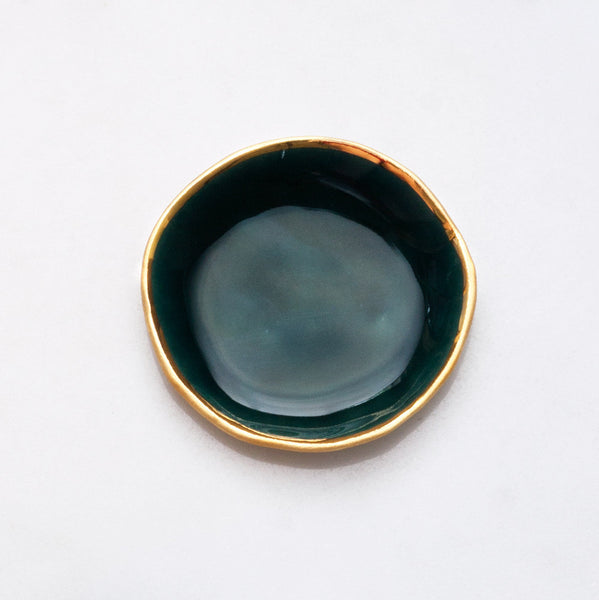Ring Dish in Malachite with Gold Rim