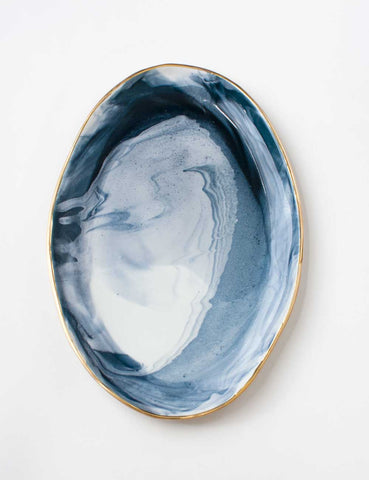 Ellipse Platter in Navy Marble with Gold Rim Vol. 3