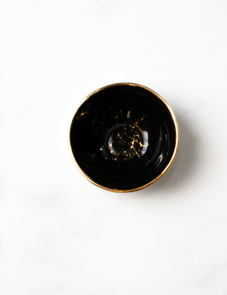 Mini Bowl in Mascara Black with Gold Splatters