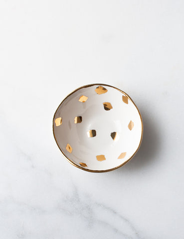 Mini Bowl in White with Gold Brushstroke Confetti