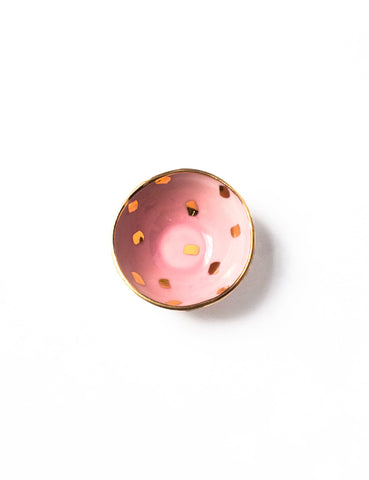 Mini Bowl in Rose with Gold Brushstroke Confetti