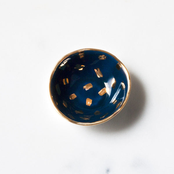 Mini Bowl in Navy with Gold Brushstroke Confetti