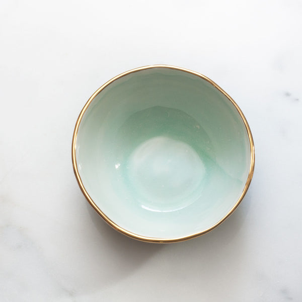 Bowl in Mint Swirl with Gold Rim
