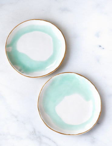 Dessert Plates in Watercolor Mint Swirl with Gold Rim (set of two)