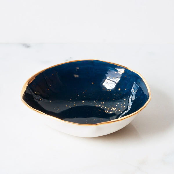Small Serving Bowl in Navy with Gold Splatters