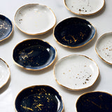 Ring Dish in Navy with Gold Splatters and Gold Rim