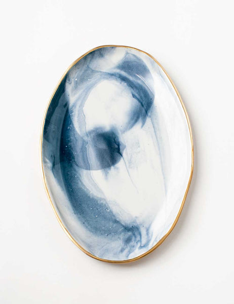 Ellipse Platter in Navy Marble with Gold Rim Vol. 5