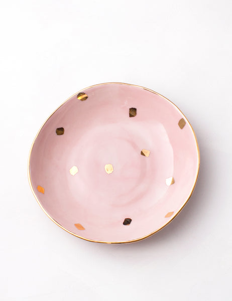 Organic Bowl in Rose with Gold Confetti Brushstrokes