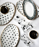 Ellipse Platter in Black and Gold Polka Dots