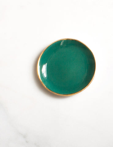 Ring Dish in Agave with Gold Rim