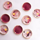 Ring Dish in Watercolor Pinks and Gray with Gold Brushstroke