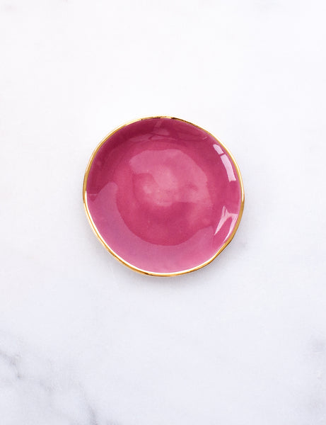 Pre-Order: Ring Dish in Amaranth with Gold Rim