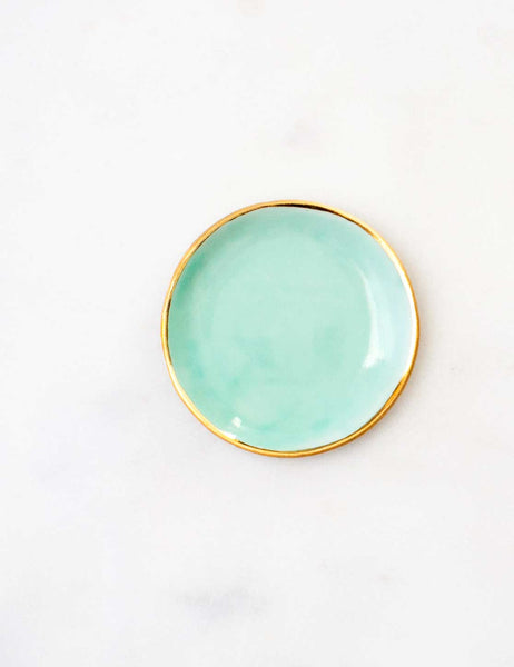 Ring Dish in Aqua with Gold