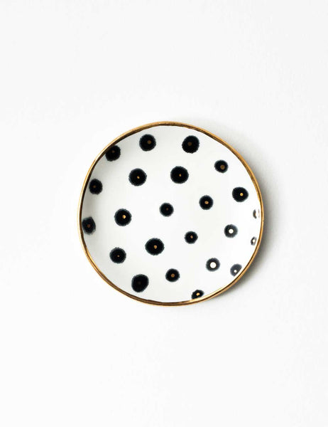 Ring Dish in Black and Gold Polka Dots