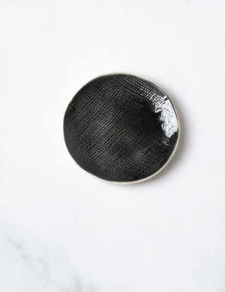 Ring Dish in Charcoal Burlap Sample