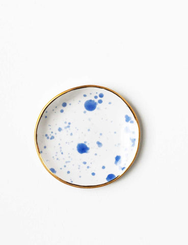 Ring Dish in Chambray Splatter with Gold Rim