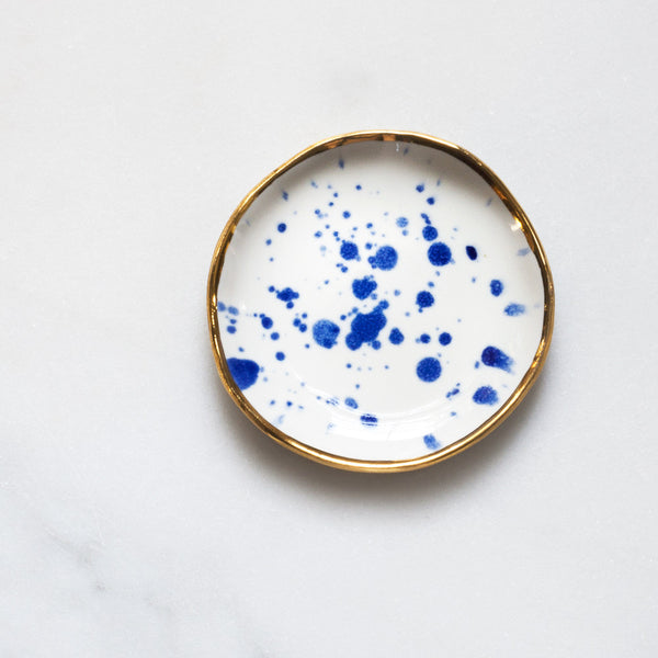Ring Dish in Cobalt Splatter with Gold Rim