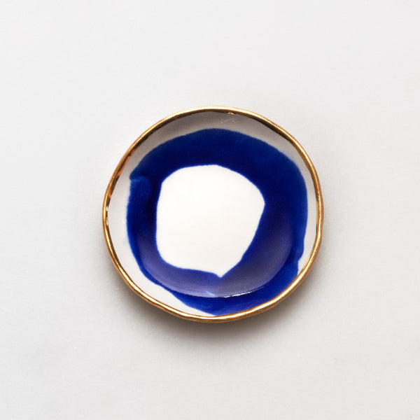 Ring Dish in Cobalt Swirl with Gold Rim