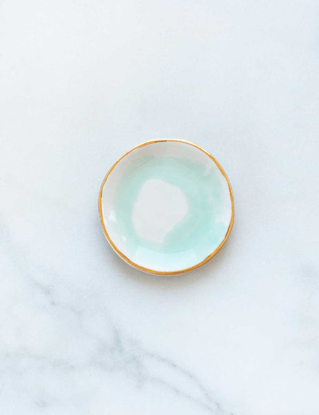 Made to Order: Ring Dish in Mint Swirl with Gold Rim