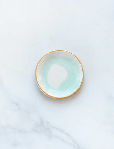 Ring Dish in Mint Swirl with Gold Rim