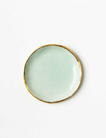 Ring Dish in Mint with Gold Rim