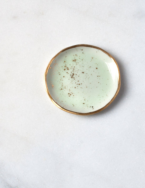 Ring Dish in Mint with Gold Splatters and Gold Rim
