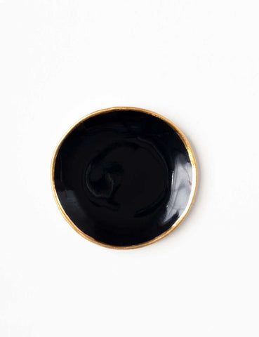 Ring Dish in Patent Black with Gold Rim