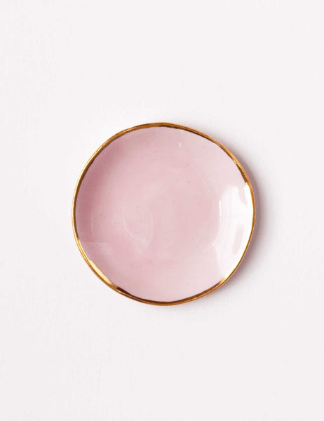 Ring Dish in Rose with Gold Rim