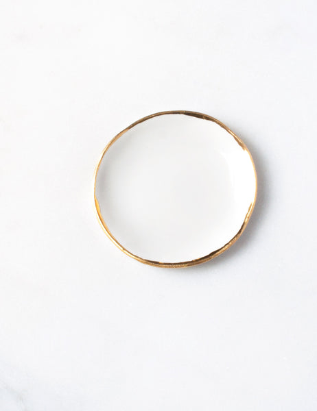 Ring Dish in White with Gold Rim