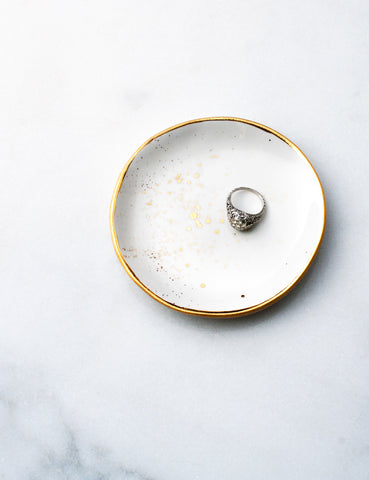 Ring Dish in White with Gold Splatters and Gold Rim