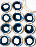 Made to Order: Ring Dish in Navy Swirl with Gold Rim