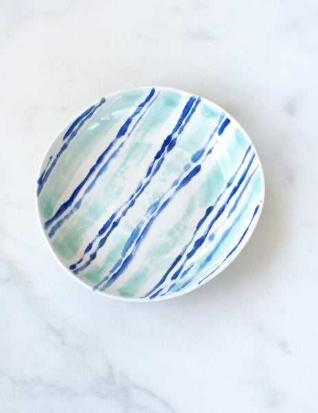 Salad Bowl in Mint and Cobalt Stripe
