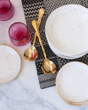 Salad Bowl in White with Gold Splatters