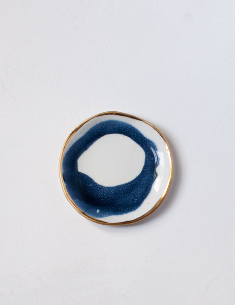 Seconds Ring Dish in Navy Swirl with Gold Rim