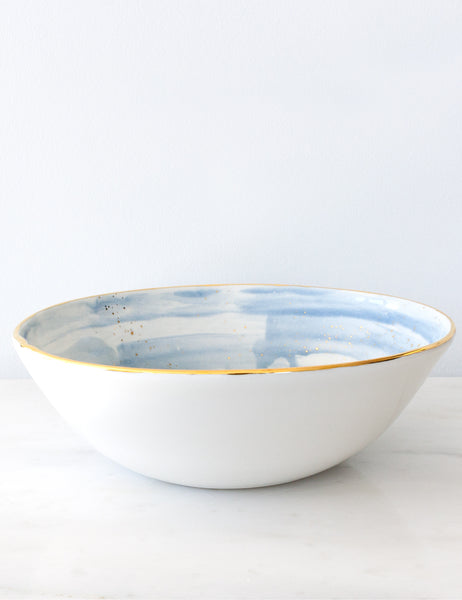 Serving Bowl in Aegean Watercolor Brushstrokes with Gold Splatters