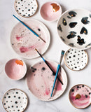 Dessert Plates in Watercolor Pink with Charcoal and Gold (set of two)