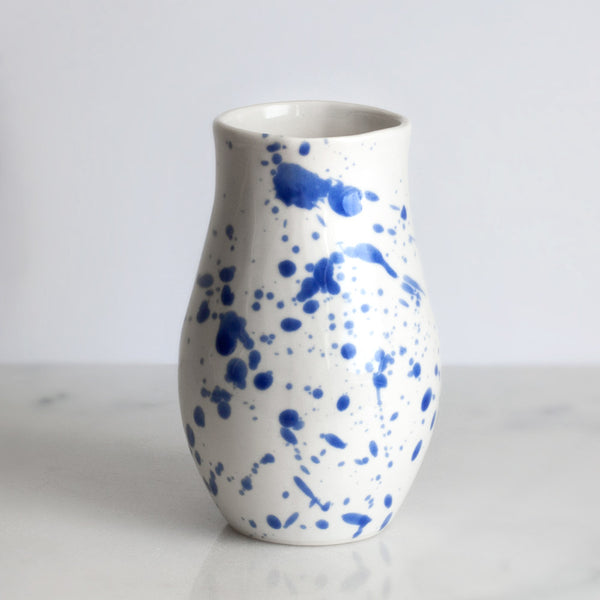 Vase in White with Cobalt Splatters