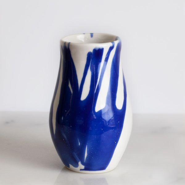 Seconds Vase in White with Cobalt Watercolor