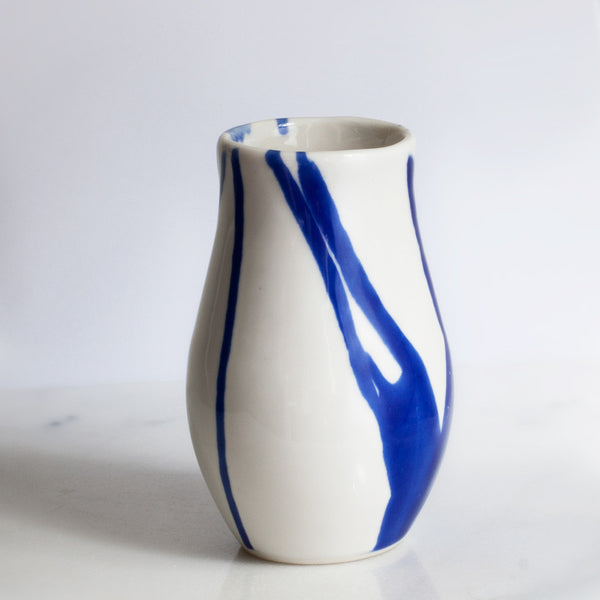 Vase in White with Cobalt Watercolor