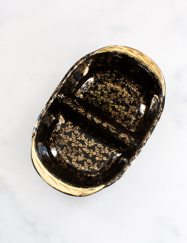 Vintage Divided Black and Gold Bowl