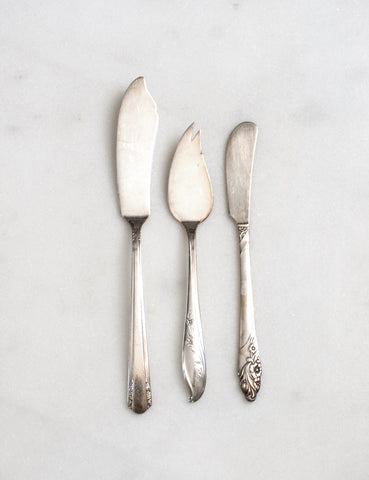Vintage Floral Cheese Spreader Trio