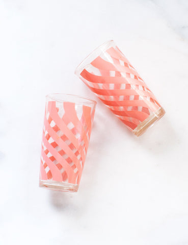 Vintage Coral Spiral Highball Tumblers (set of four)