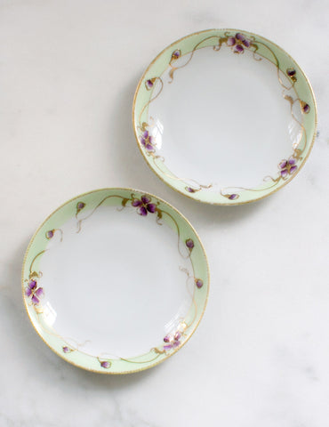 Vintage Dessert Plates in Mint and Violet (set of four)