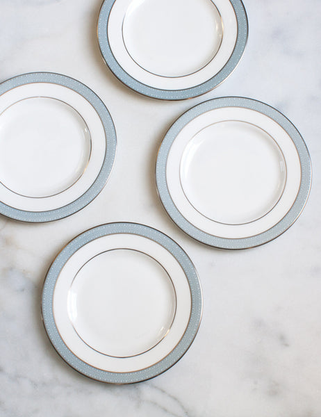 Vintage Ice Blue and Silver Dessert Plates