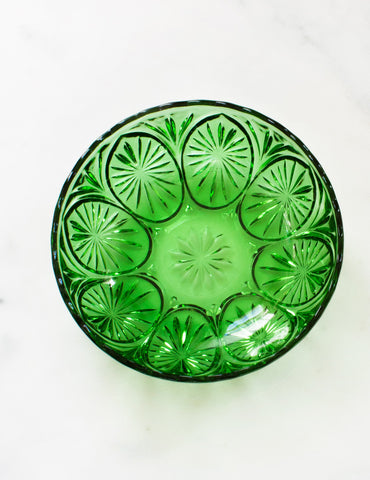 Vintage Green Cut Glass Bowl