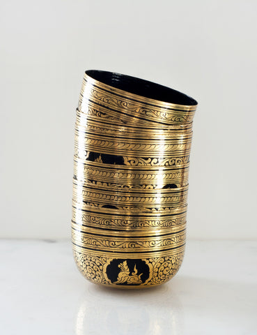 Vintage Black and Gold Lacquered Paper Bowl