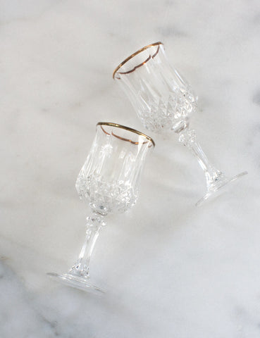 Vintage French Crystal Gold Rim Goblets (set of four)