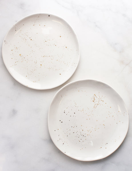 Salad Plates in White with Gold Splatters (Set of Two)