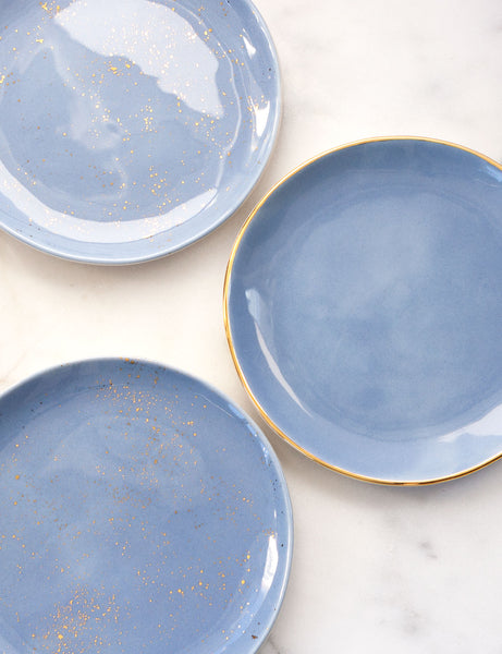 Limited Edition: Dinner Plate Trio Set in French Blue and Gold (Set of Three)
